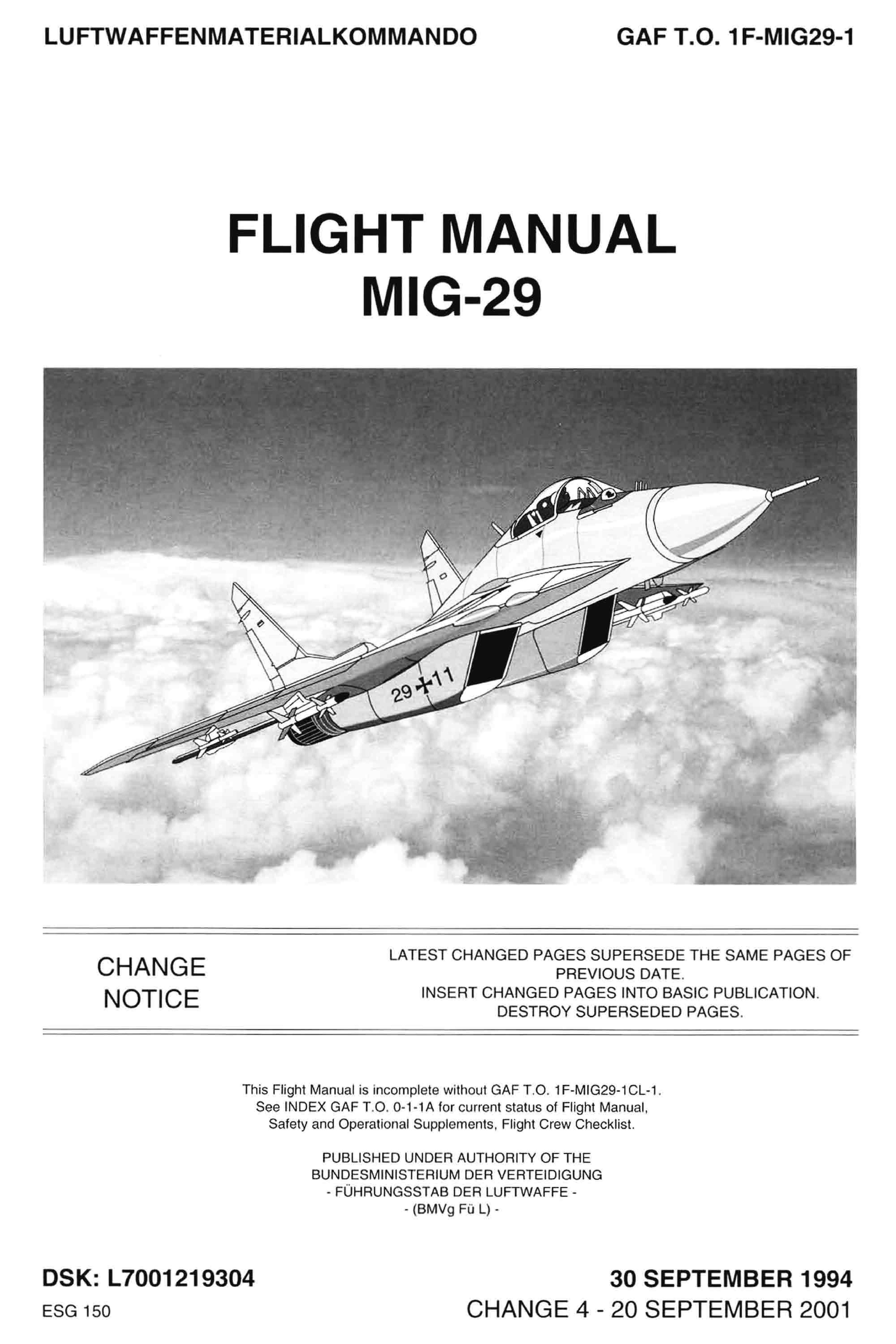 Flight manual MIG-29 / Руководство по летной эксплуатации самолета МиГ-29
