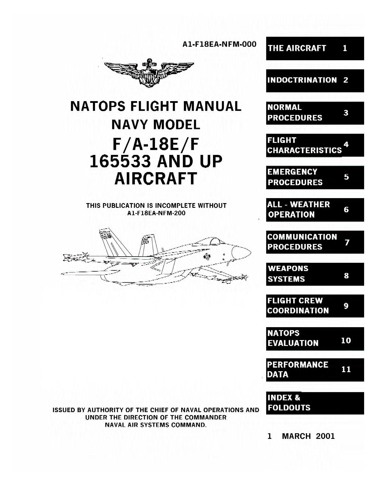 Flight manual navy model F/A-18E/F / Инструкция по летной эксплуатации самолета F/A-18E/F
