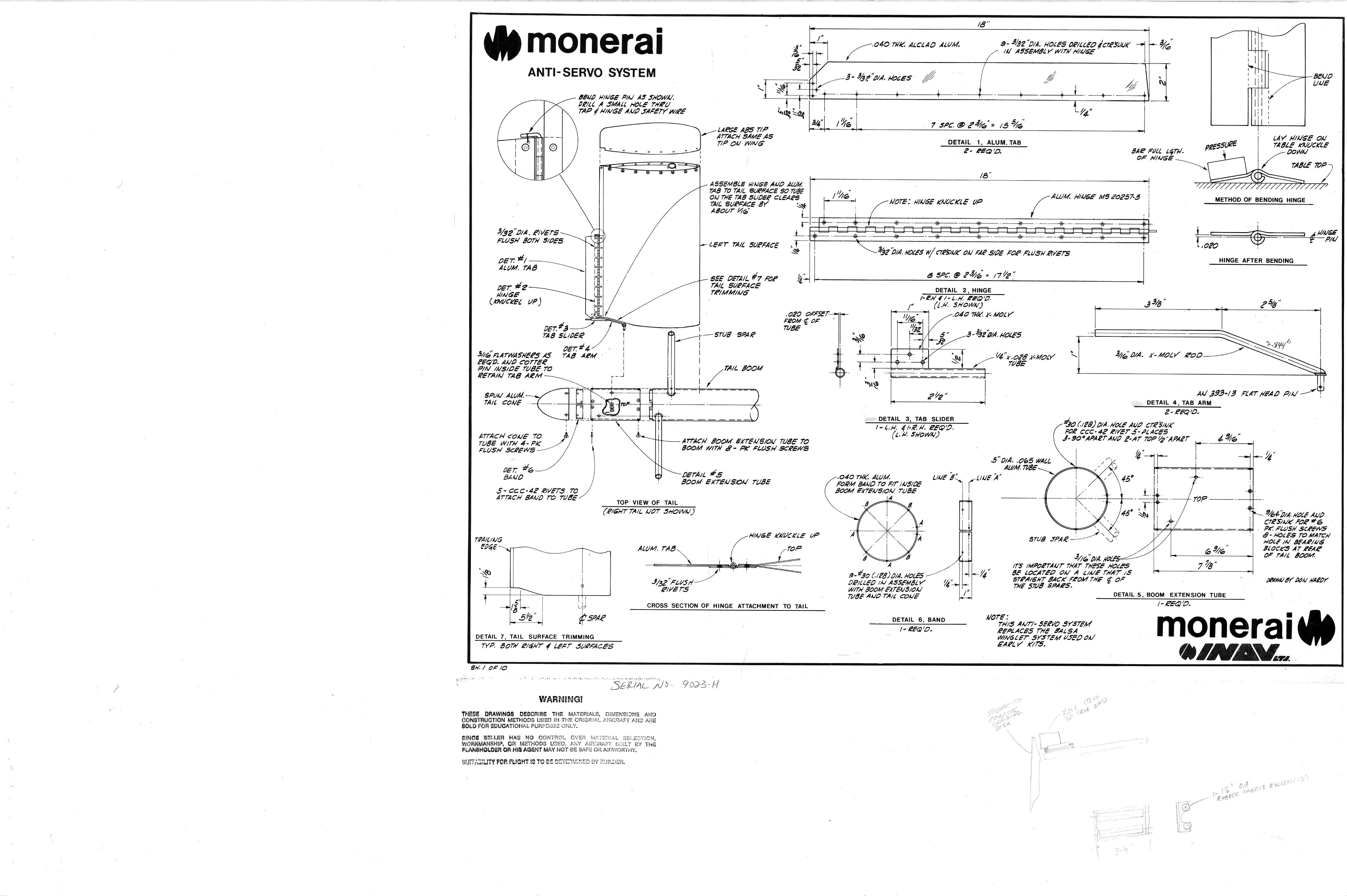 Чертежи для самостоятельной постройки планера Monerai