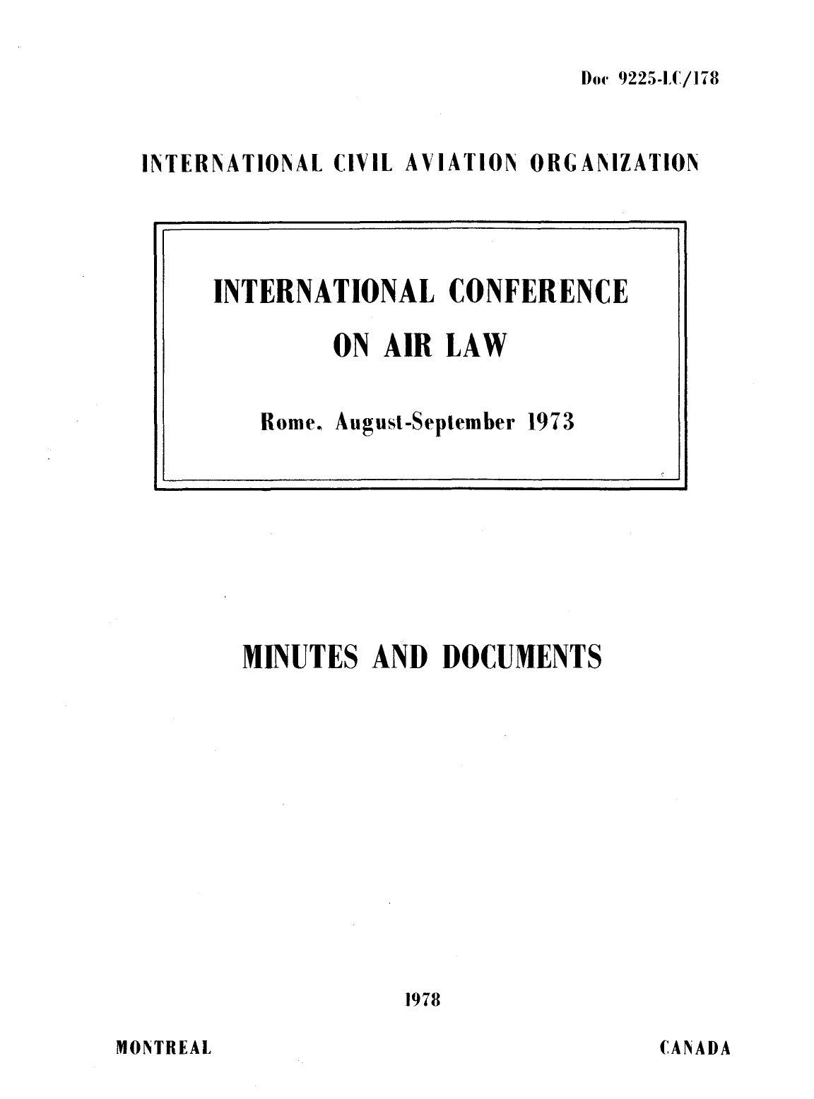 ICAO Doc 9225 Международная конференция по воздушному праву. Рим, август - сентябрь 1973 г.