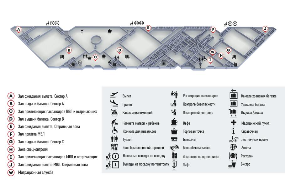 Схема аэровокзала, 1й этаж